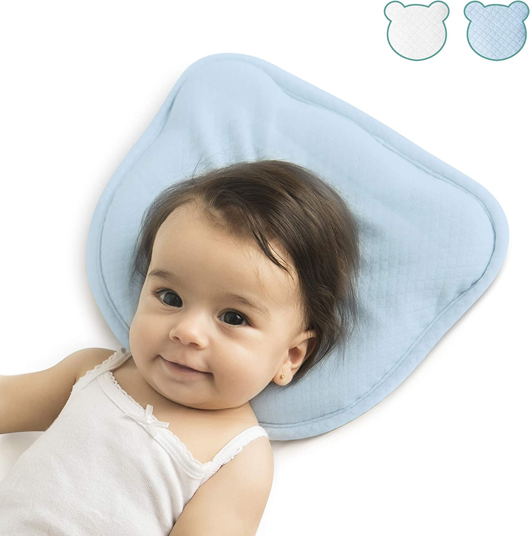 Almohada Bebe   Cojin Plagiocefalia y 2 Fundas Extra 100% Algodón   Diseño Ergonómico para un Desarrollo Sano de la Cabeza   Cojin Bebe Antiasfixia y Antivuelco   Almohada Cuna Bebe 0-12m HOMYBABY