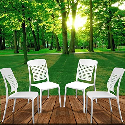 Spinecare Series 2109 - by Italica Furniture with Ergonomically Designed Swingback for Complete Back Support for Indoor, Outdoor, Restaurant, Classroom and Dining Room (Matte Finish, White, Set of 4)