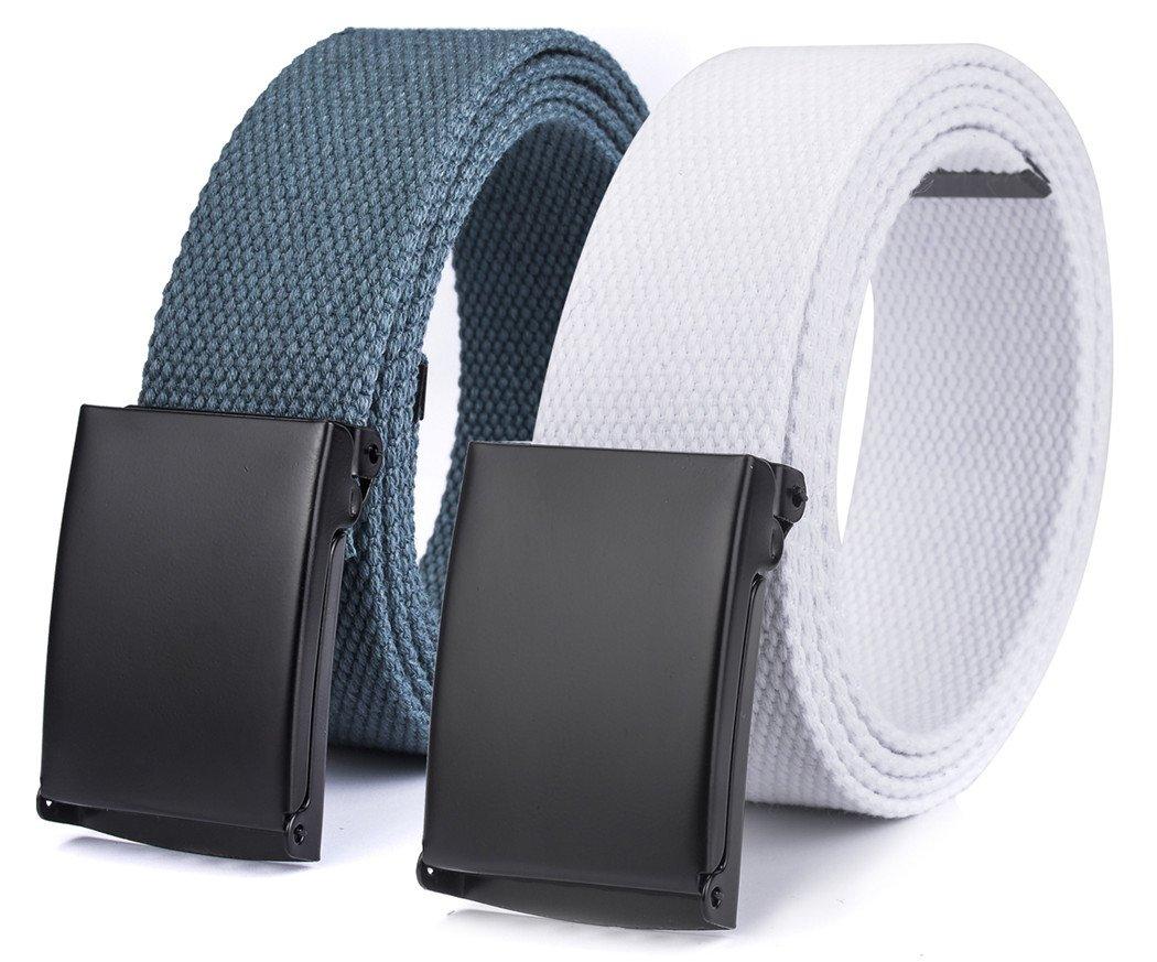 Canvas web Hiker Belt Military Tactical Waist Belt by ViViKiNG (2pcs. Dark Grey + White)
