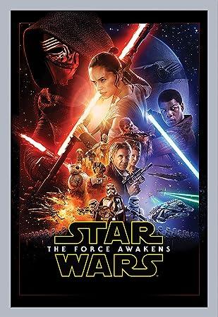 Star Wars EP7 One Sheet Episode7 Das Erwachen der Macht Poster Plakat Größe  61x91,5cm + Wechselrahmen, Shinsuke® Maxi MDF Silber, Acryl-Scheibe