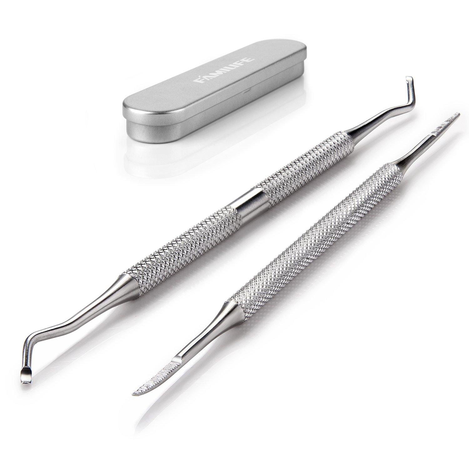 FAMILIFE L07 100% Stainless Steel Ingrown Toenail File and Lifter Double Sided with Storage Case