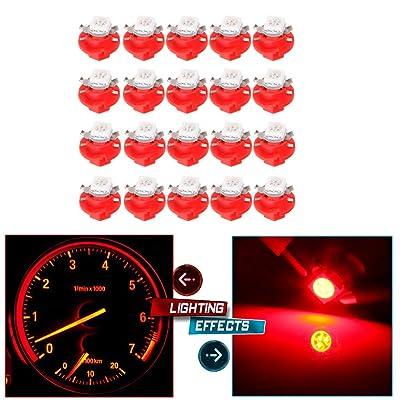 cciyu 20 Pack Car T5 B8.4D 5050 1SMD LED Light Dashboard Side Indicator Lights (red): Automotive
