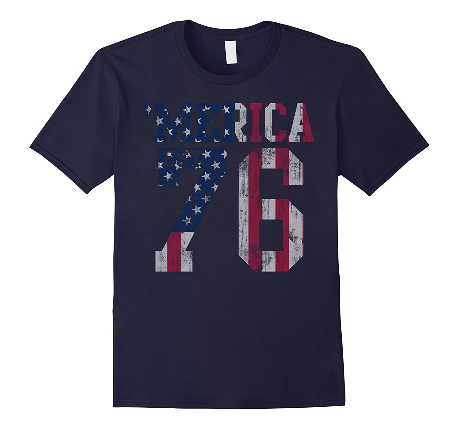 'Merica Patriotic American Flag Est.1776 t shirt-TH