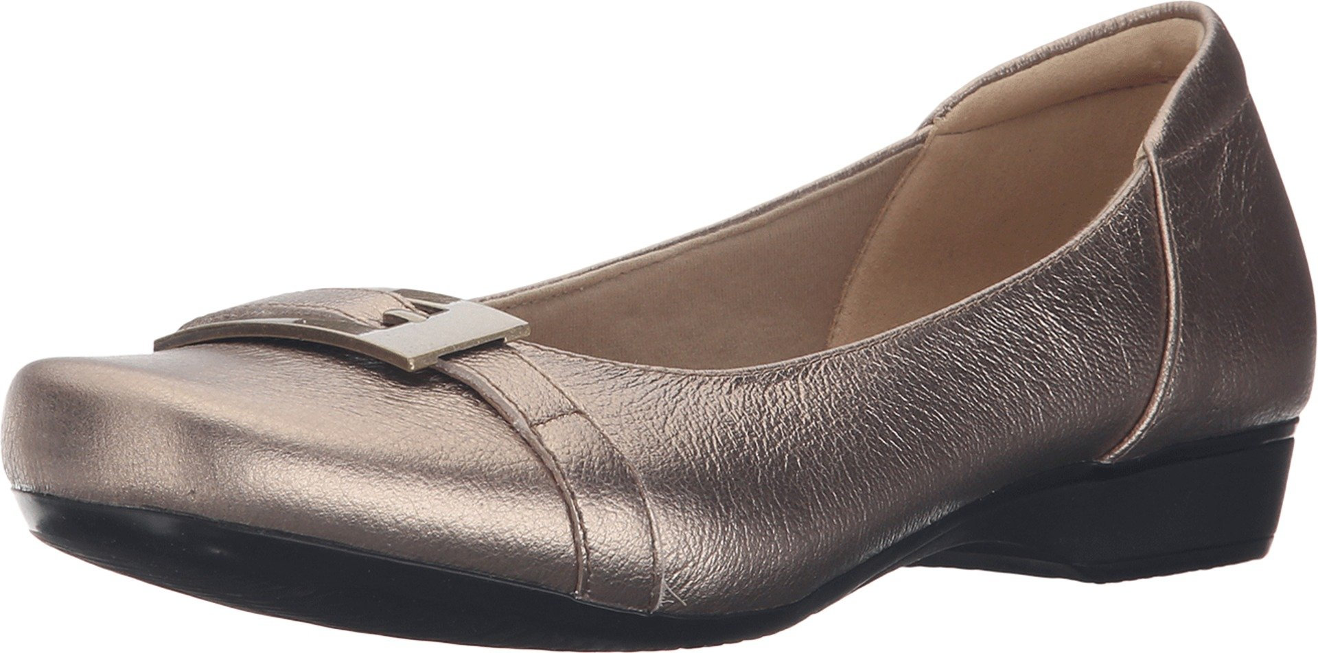 CLARKS Women's Blanche West Flat, Gold/Metallic Leather, 8 M US
