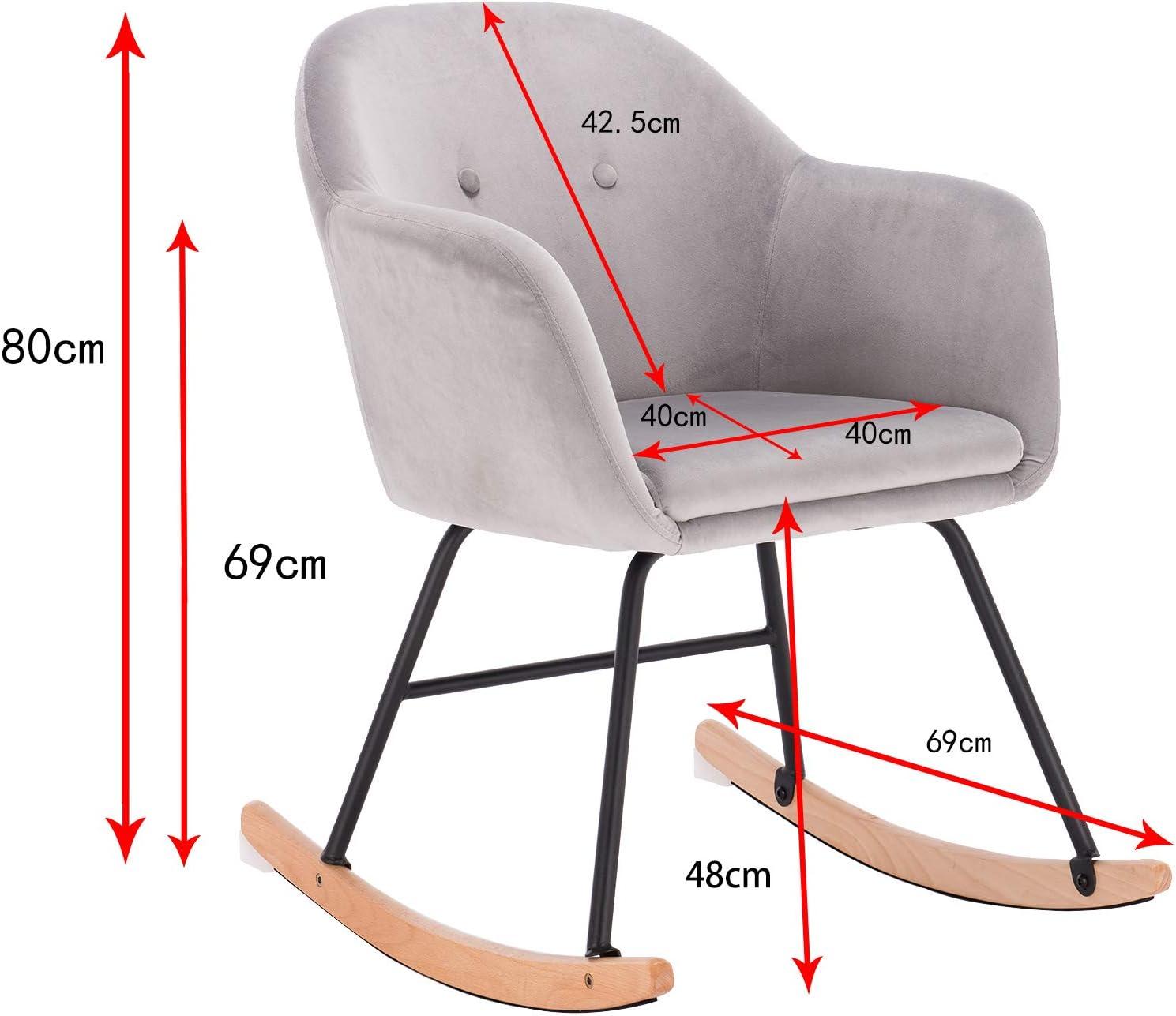 eSituro Rocking Chair Cream Lounge Chair Relax Chair Retro Rocker Leisure Armchair Outdoor Sun Patio Garden Tulip Tub Chair Light Grey