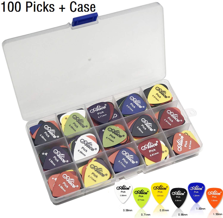 100pcs Acoustic Electric Guitar Picks Plectrum Various Colors 6 thickness 0.58/0.71/0.81/0.96/1.20/1.50 mm + Pick Box 71it2y0jMgL