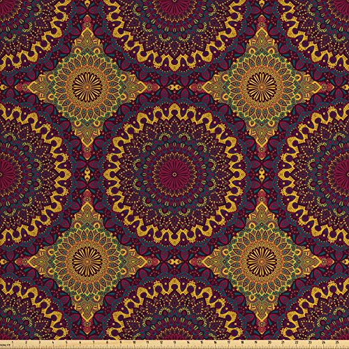Ambesonne Moroccan Fabric by The Yard, Oriental Art Style Mandala Motifs Vintage Design Tribal Inspirations, Decorative Fabric for Upholstery and Home Accents, Plum Petrol Blue Yellow ()