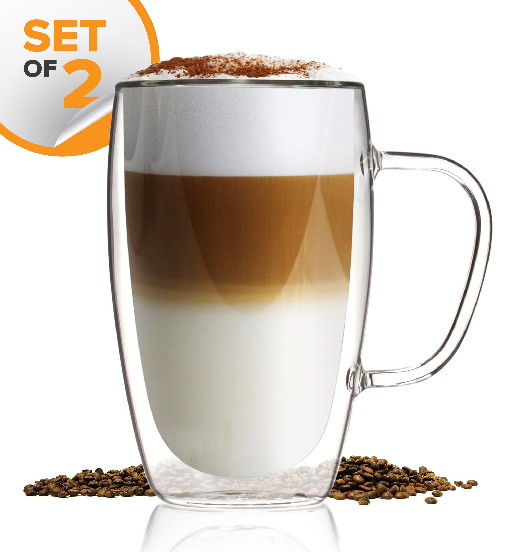 Latte Cappuccino Espresso Glassware Kitchables Coffee or Tea Glass Mugs Set of 2,15oz Double Wall Thermo Insulated Cups with Handle
