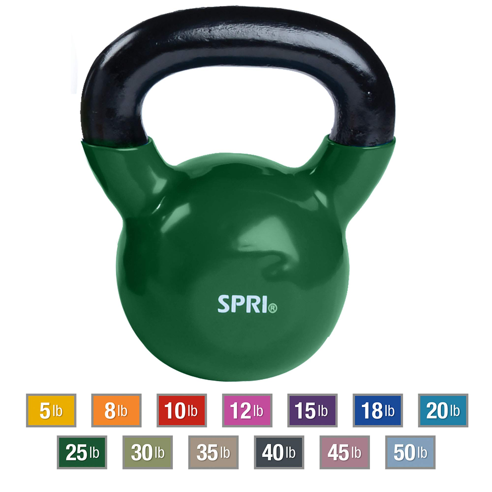 SPRI Kettlebell Weights Deluxe Cast Iron Vinyl Coated Comfort Grip Wide Handle Color Coded Kettlebell Weight Set (Green, 25-Pound)