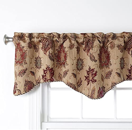 INICEKEY Carol Leaves Printed Valance Curtains 17 inch Room Darkening Grey Kitchen Curtain Valances Living Room Leaf Print Triple Weave Bedroom,Rod Pocket 52 x17 2 Header
