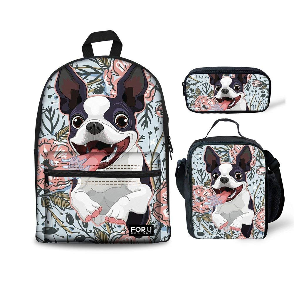 HUGS IDEA Floral Boston Terrier Backpack Set 3 Piece School Bag with Lunchbag Pencil Case for Girls Boys by HUGS IDEA (Image #1)
