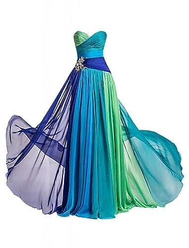 Dormencir® Women's Rhinestone Colorful Long Bridesmaid Prom Evening Dresses