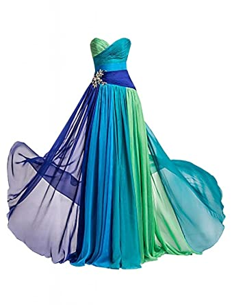 Dormencir Womens Rhinestone Colorful Long Bridesmaid Prom Evening