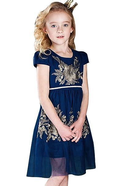 Vestido de niña para fiesta de boda vestido azul y elegante cuello redondo manga corta vestido