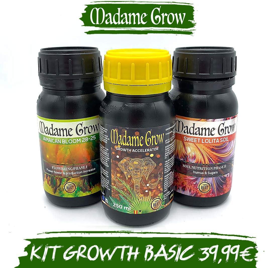 MADAME GROW / Kit Growth Basic/Nutre a Tus Plantas de Marihuana o Cannabis Durante Todo su Ciclo sin Grandes complicaciones/Productos básicos para una Cosecha excelente (3 x 250 ml)