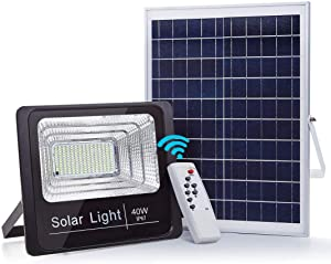 40W LED Solar Flood Lights, 79 LEDs 2500LM High Bright Security Lighting, Dusk to Dawn Photocell Sensor, IR Remote Control, 6000K Cool White, IP67 Waterproof for Outdoor,Yard, Garden, Pathway,Porches.