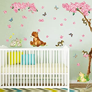 decalmile Pink Flower Blossom Tree and Forest Animals Wall Decals Bear Squirrel Rabbit Wall Stickers Baby Nursery Kids Bedroom Wall Decor