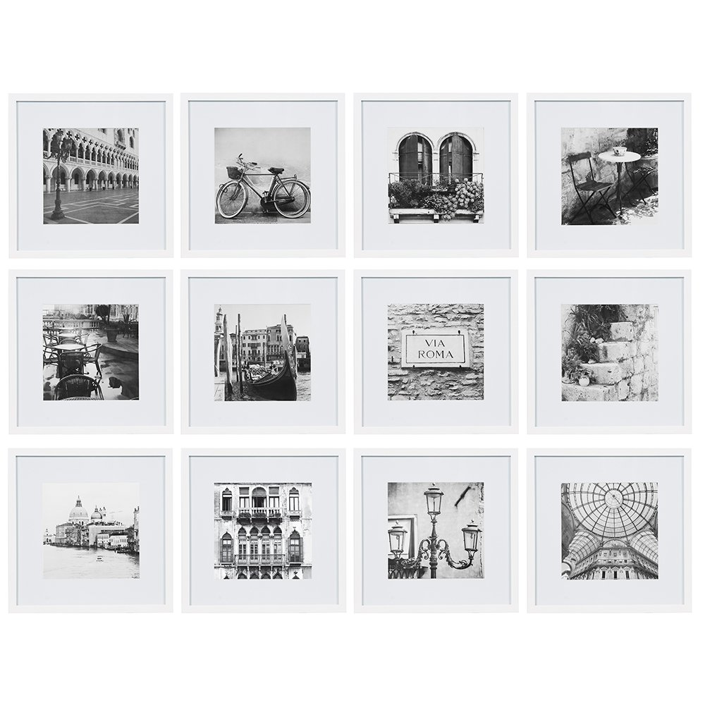Gallery Perfect 12 Piece White Square Photo Frame Gallery Wall Kit  with Decorative Art Prints & Hanging Template by Gallery Perfect