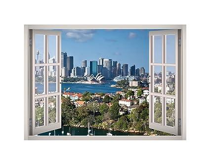 Amazoncom Sydney Melbourne Window 3d Wall Decal Art Removable