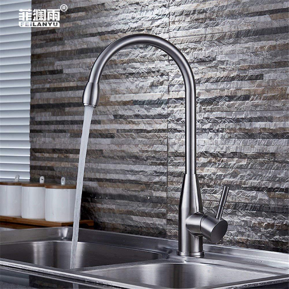 Eeayyygch Küche Bad Becken waschbecken mischbatterie Wasserhahn 304 Edelstahl spülbecken Wasserhahn Heißes und kaltes Wasser drehauslauf waschbecken mischer (Farbe   -, Größe   -)