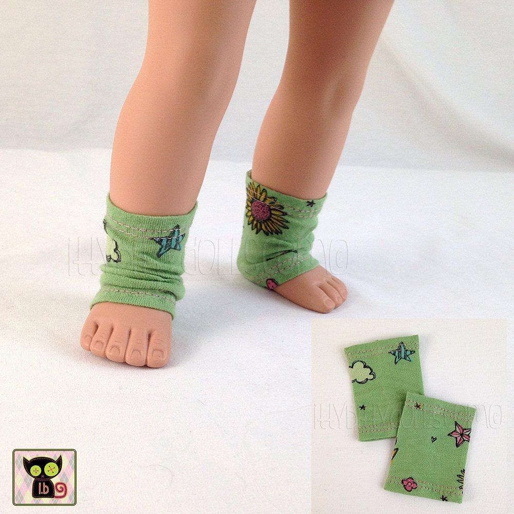 Green Graffiti Print Legwarmers for 18 Dolls