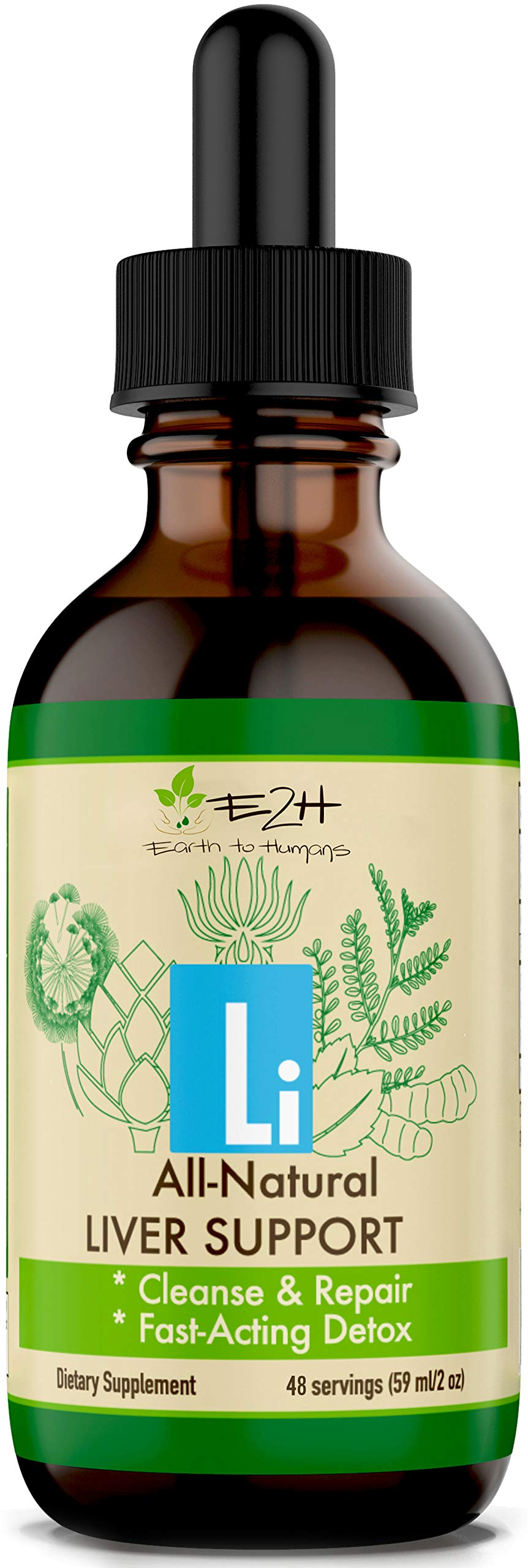 Gentle Liver Cleanse and Detox - All-Natural Liver Support Supplement - Revitalize Your Liver and Your Health - Highly Absorbent Liquid Formula with Milk Thistle, Chanca Piedra - 48 Servings by E2H EARTH TO HUMANS