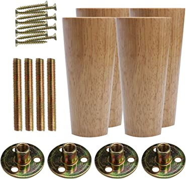 6cm 4PCS Height Sofa Legs Wooden Furniture Legs Replacement Armchair Cabinet Feet Wood Cabinets Legs Straight Wood Color for Couch Ottoman Dresser