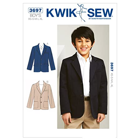 KwikSew-3697 Kwik Sew Boys Sewing Pattern 3697 Smart Blazer Jacket