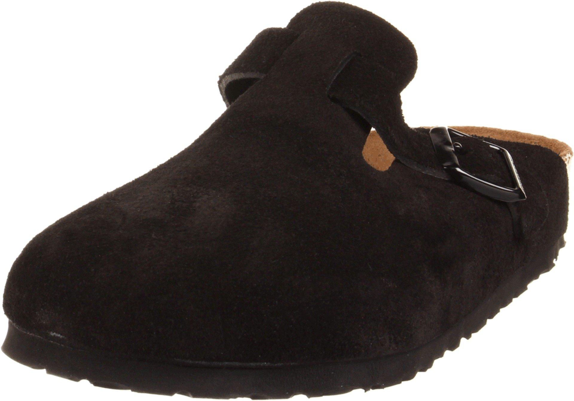 Birkenstock Unisex Boston Soft Footbed, Black Suede, 43 M EU