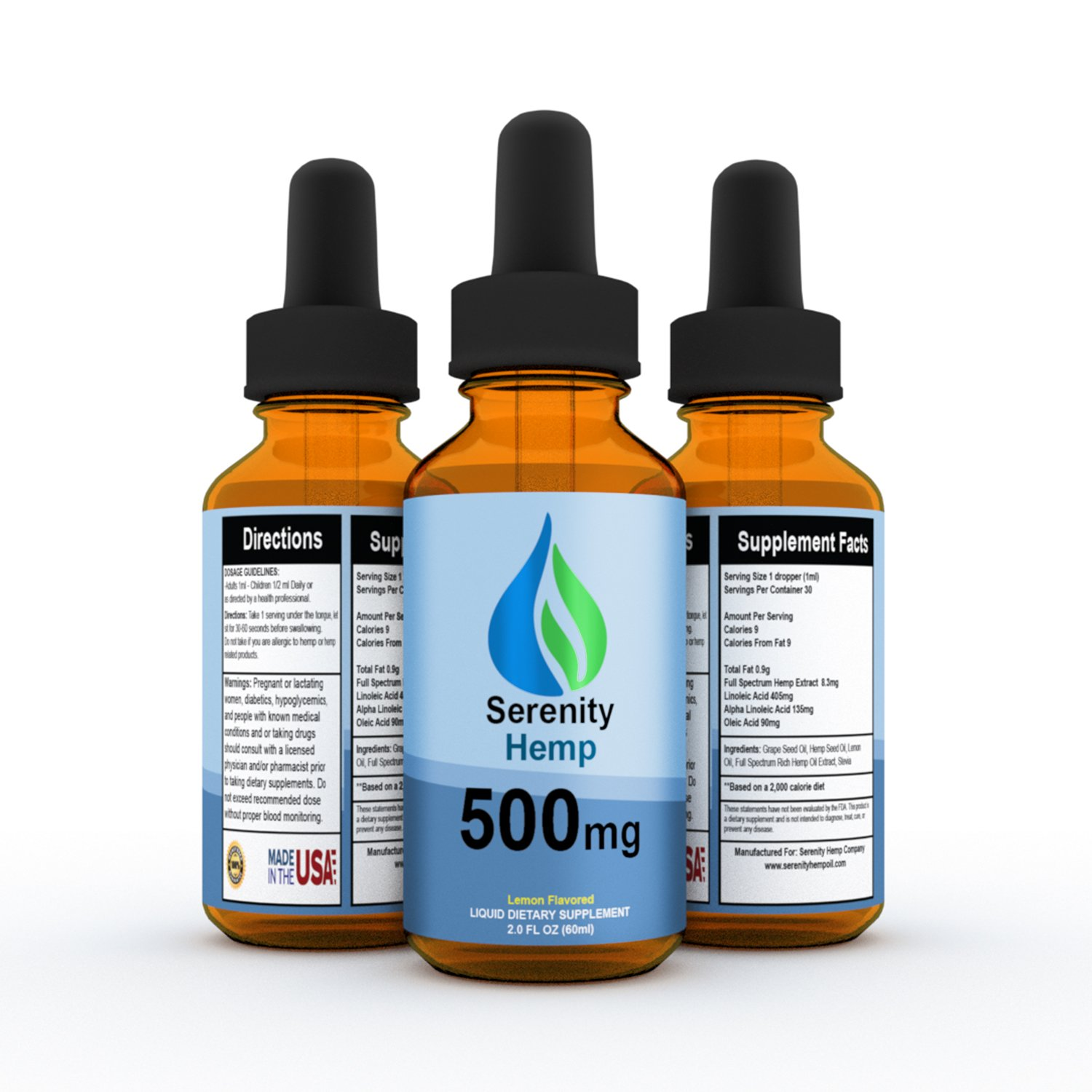 Serenity Hemp Oil - Lemon Flavor - 2 fl oz 500mg - Certified Organic - 99.9% Pure Full Spectrum Hemp Extract - For Pain - Stress - Anxiety