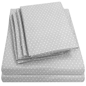 Queen Sheets Dot Grey - 6 Piece 1500 Thread Count Fine Brushed Microfiber Deep Pocket Queen Sheet Set Bedding - 2 Extra Pillow Cases, Great Value, Queen, Dot Gray