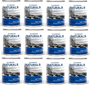 Diamond Naturals Canned Dog Food, 13.2 Ounces Per Can, Beef Dinner for All Life Stages, 12 Pack