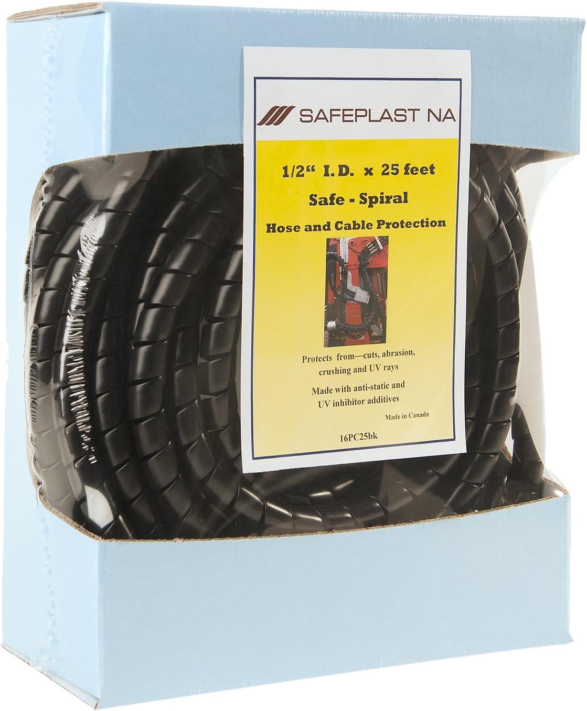 """Pre-Cut Spiral Wrap Hydraulic Hose Protector 1.0/"""" OD 3//4/"""" ID 25 Length Black"""