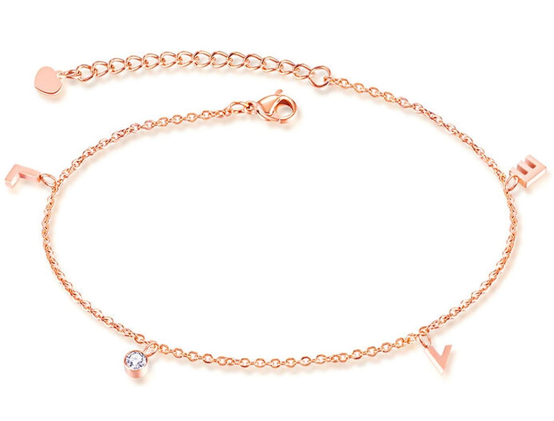 """Epinki Women Stainless Steel """"Love"""" Pendant Beach Foot Anklet Bracelet Rose Gold White Zirconia 21 + 5 CM"""
