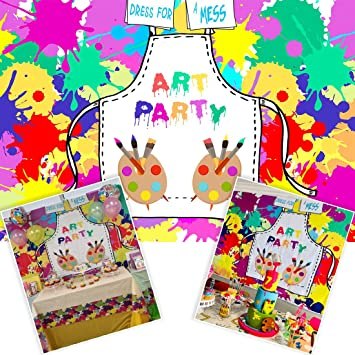 New Art Painting Birthday Party Backdrops Kids Background Dress for a Mess Let s Paint Splatter Photo Background Graffiti Wall Photography Banner Brush for Cake Table Decorations 7x5ft