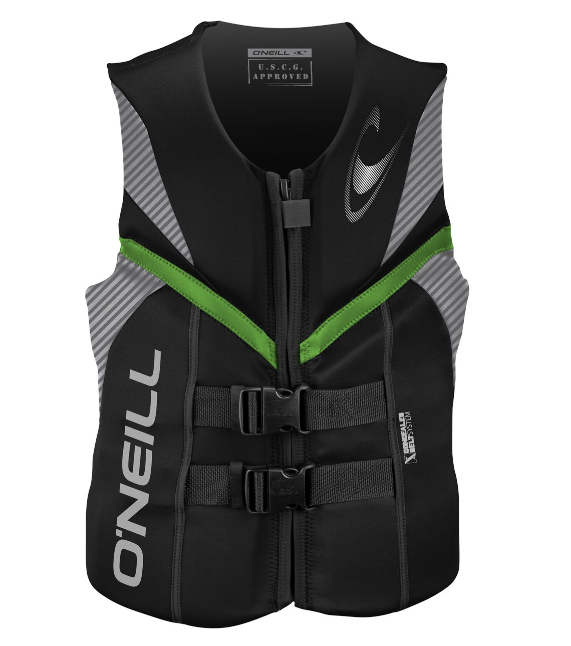 O'Neill Wetsuits Men's Reactor USCG Life Vest BLKLUNDGLO MED, Black/Lunar/Day-Glo, Medium by O'Neill Wetsuits