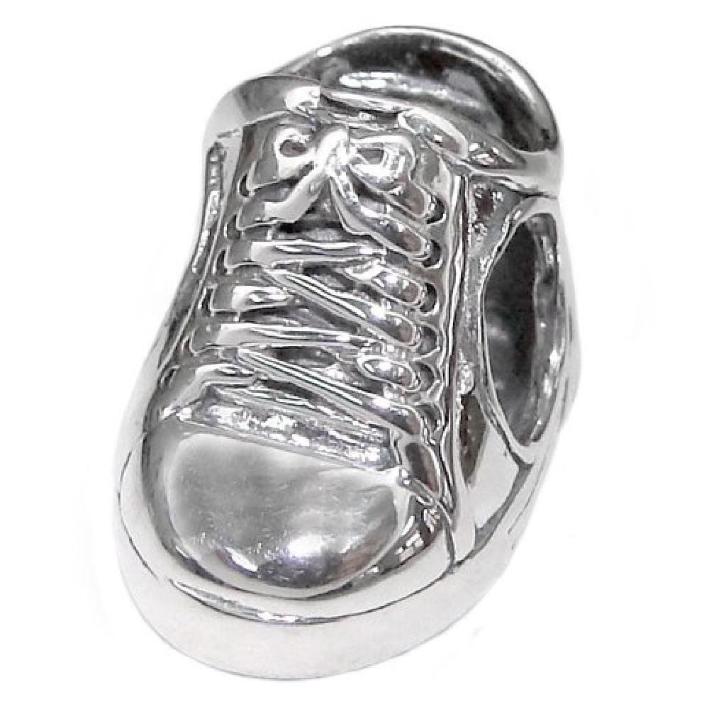 So Chic Jewels - 925 Sterling Silver Charm Bead - Shoe Laces - Compatible with Pandora, Trollbeads, Chamilia, Biagi