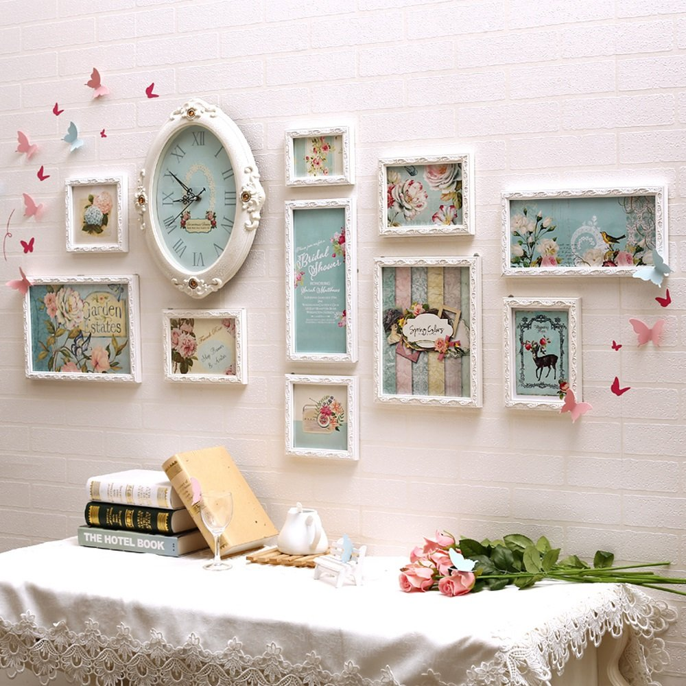 Photo Wall, Europe Solid Wood Frame Wall, Living Room Bedroom Sofa Photo Wall, Children Warm Photo Wall ( Color : 1# )