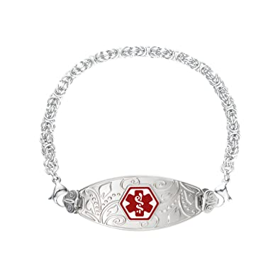 Medical Alert Bracelet >> Amazon Com Divoti Deep Custom Laser Engraved Lovely Filigree