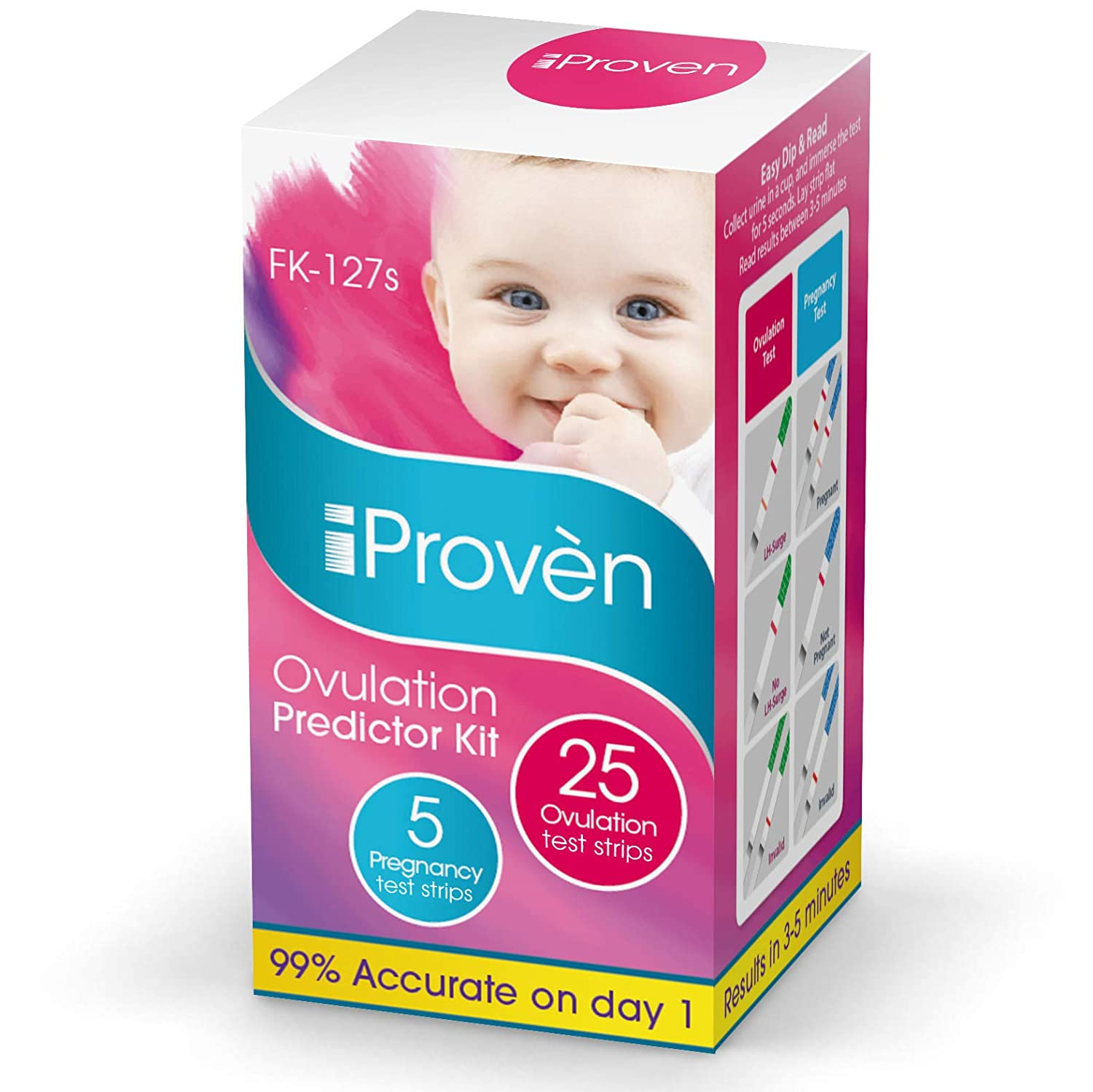 Best Ovulation Predictor Kit - 25 Ovulation Test Strips and 5 Pregnancy Test Strips - Fertility Test for Women - for Trying to Conceive Couples - Ovulation Tests for Women - FK-127s 2019