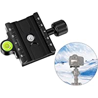 Neewer Metal 60mm Quick Release Plate QR Clamp 3/8-inch with 1/4-inch Adapter and Bubble Level, Adjustable Lever Knob…