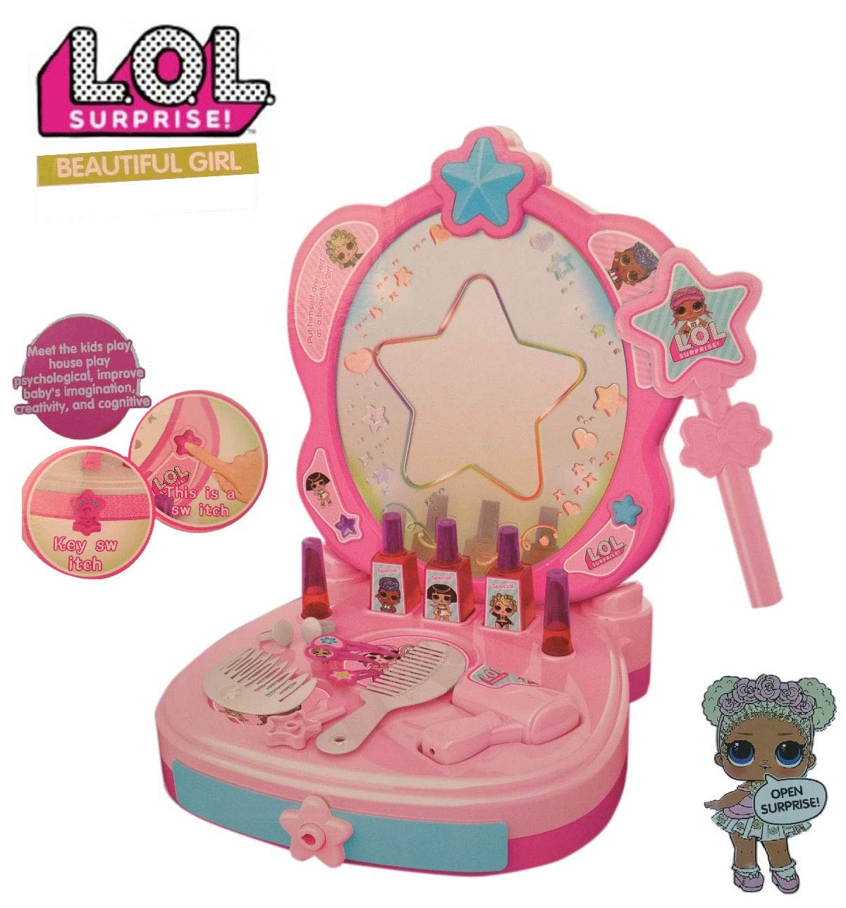 factory price 4e918 da751 Buy HALO NATION Kids Lol Beauty Mirror, Play Hair Dryer and ...