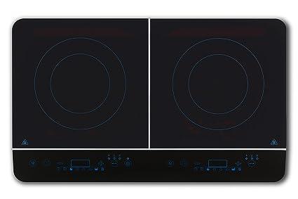 Medion MD 18185 - Cocina eléctrica de inducción doble, panel de control táctil, 3500 W, 240 grades, 8 programas de cocción, placa de cristal negro: ...
