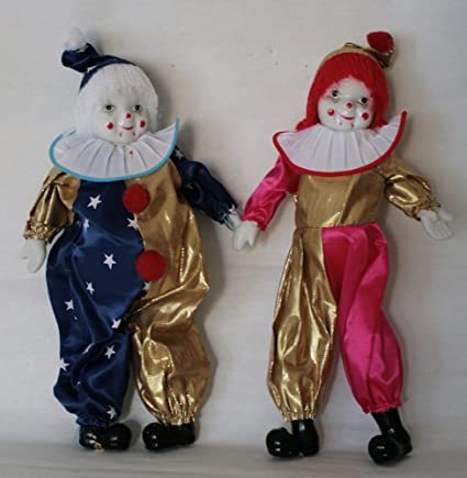 Amazon com: Duo Clown Porcelain Doll 8 Inches with Pink, blue and