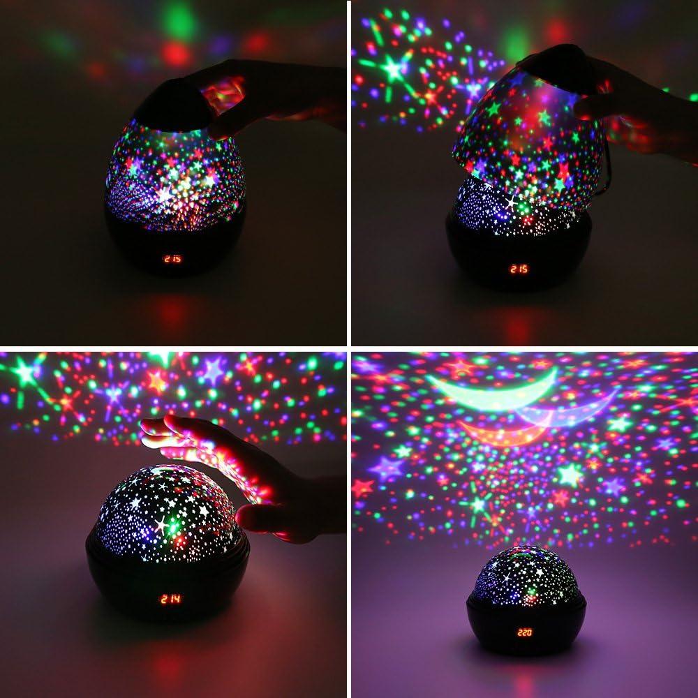 Projektor Lampe LED Grandbeing Nachtlicht Kinder 360/° Drehen 8 Beleuchtungsmodi und Automatisch Abschlaten Sternenhimmel Projektor Baby Nachtlicht f/ür Geburtstag Party Zimmer Weihnachten Hochzeit