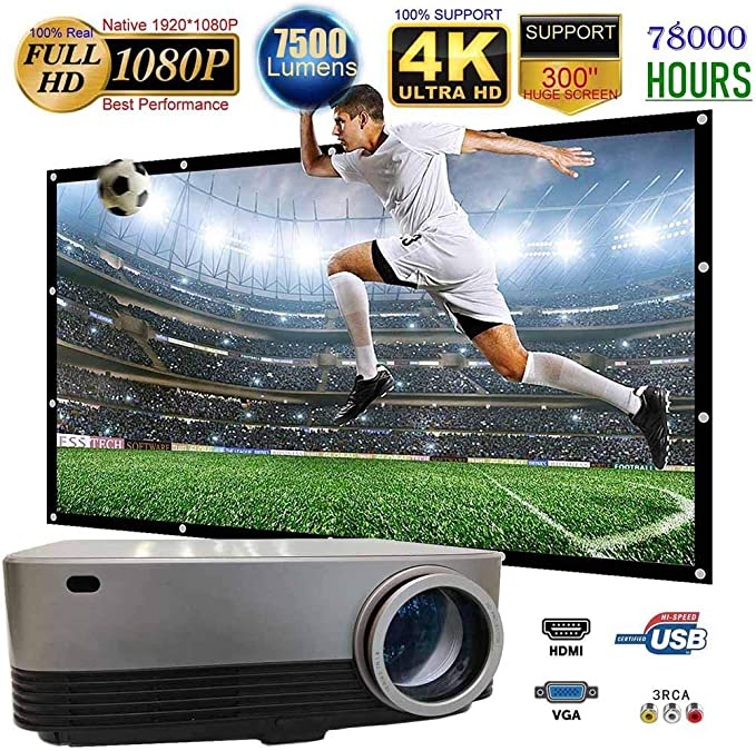 Ai LIFE Proyector LED Full HD Native 1080P Soporte 4K 7500 Lux ...