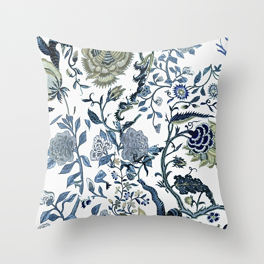 Actor Land Throw Pillow Case Blue Vintage Chinoiserie Flora Hold Pillow Cover With Size 18 In18 In For Household & Car by Actor Land