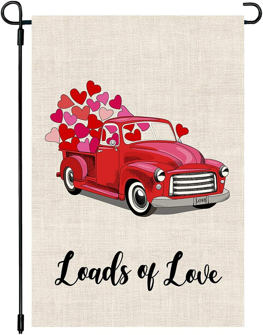 PTFNY Valentine's Day Garden Flag with Love Hearts Red Truck 12x18 Inch Double Sized Outdoor Yard Flags for Garden Decor Valentine's Day Decoration