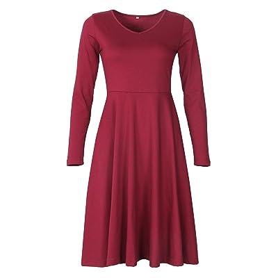 PRIMODA Women V Neck Long Sleeve Elegant Dress A Line Slim Fit and Flare Swing Vintage Midi Dress at Women's Clothing store