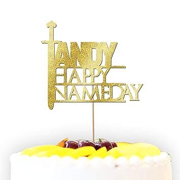 Kuchendekoration Happy Nameday Lustig Spoof Birthday Glitzer Kuchen